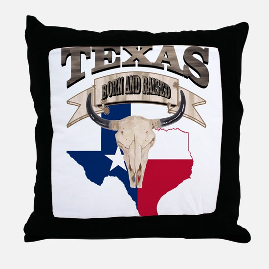 Bull Skull Texas home Throw Pillow