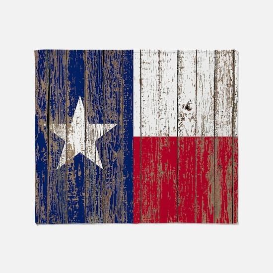 barn wood Texas Flag Throw Blanket