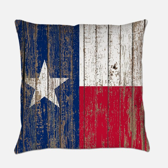 barn wood Texas Flag Everyday Pillow