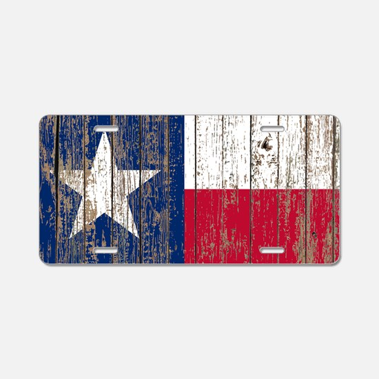 barn wood Texas Flag Aluminum License Plate