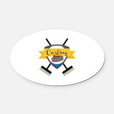 Curling Logo Oval Car Magnet