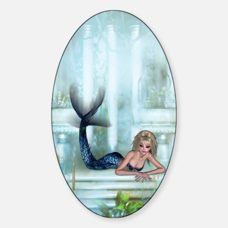 MERMAID PALACE Oval Decal