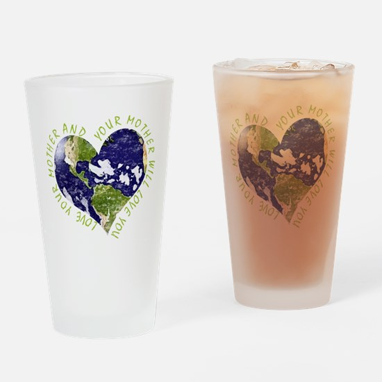 Love your Mother Earth Day Heart Drinking Glass