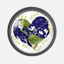 Love your Mother Earth Day Heart Wall Clock