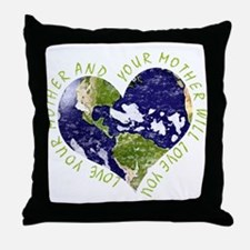 Love your Mother Earth Day Heart Throw Pillow