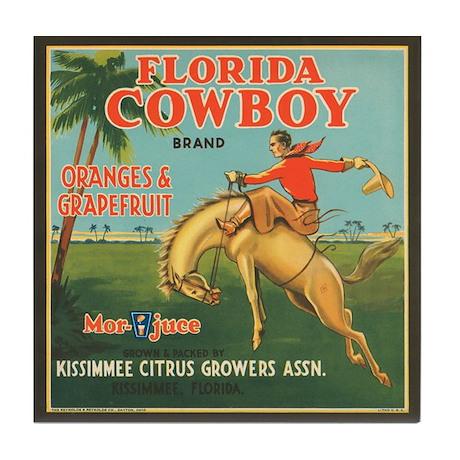 Vintage Florida Cowboy Fruit Tile Coaster