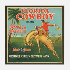 Vintage Florida Cowboy Fruit Tile Coaster