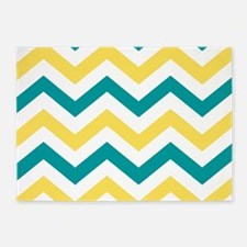 Teal & Yellow Chevron Stripes Patte 5'x7'Area Rug
