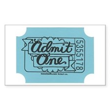 Admit One Blue Rectangle Bumper Stickers