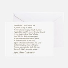 Joyce Kilmer Tree Poem Greeting Cards