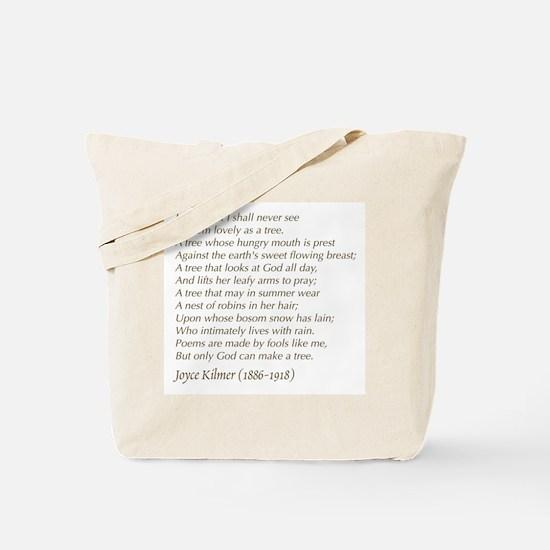Joyce Kilmer Tree Poem Tote Bag