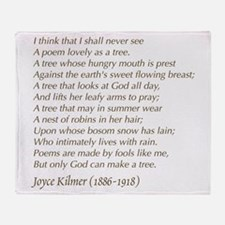 Joyce Kilmer Tree Poem Throw Blanket