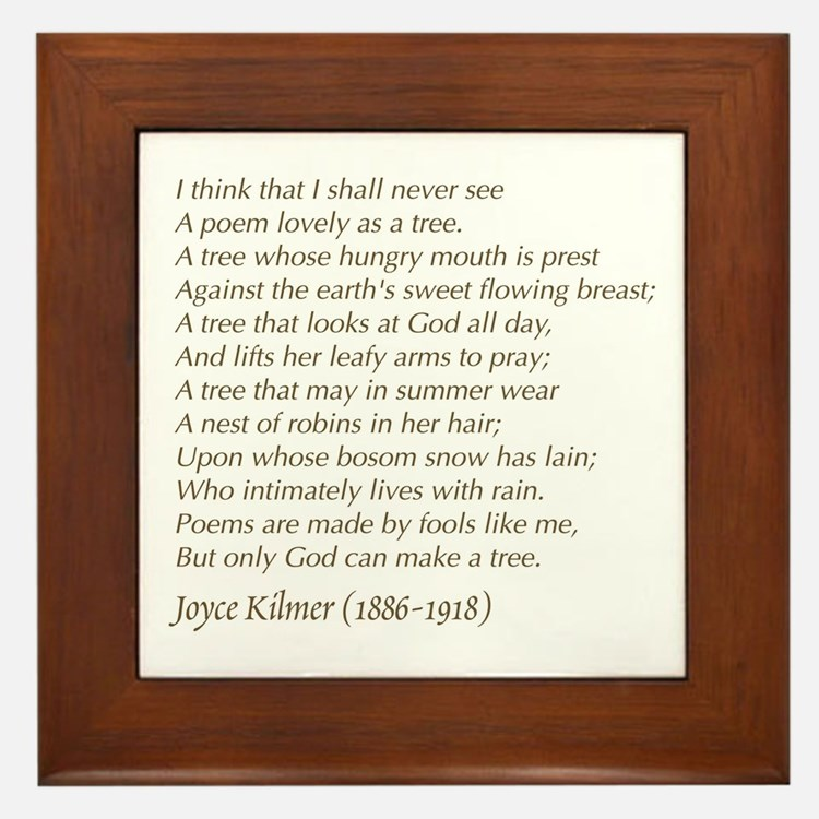 Joyce Kilmer Tree Poem Framed Tile