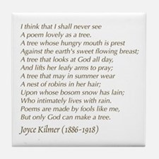 Joyce Kilmer Tree Poem Tile Coaster
