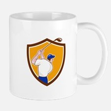 Golfer Swinging Club Crest Cartoon Mugs