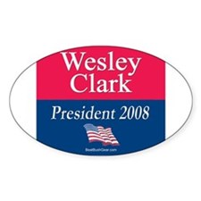 """Wesley Clark President"" Oval Decal"