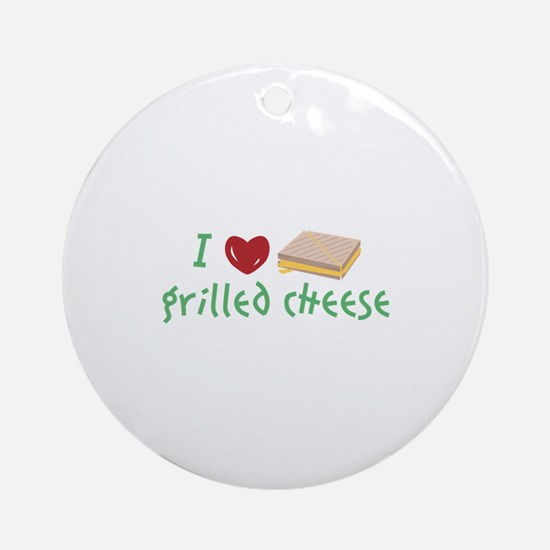Grilled Cheese Heart Round Ornament
