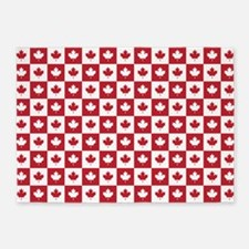 Canada Maple Leaf Checkered Pattern 5'x7'Area Rug