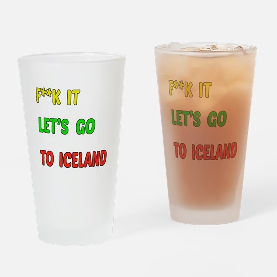 Let's go to Iceland Drinking Glass