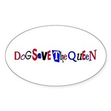 Dog Save the Queen Oval Decal