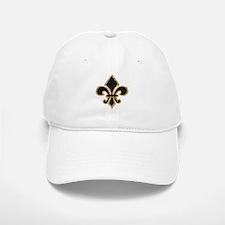 Black and Gold Fleur Baseball Baseball Cap