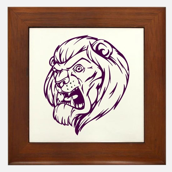Lion Mascot (Purple) Framed Tile