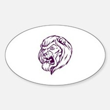 Lion Mascot (Purple) Oval Decal
