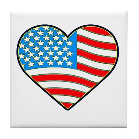I Love America Flag Tile Coaster