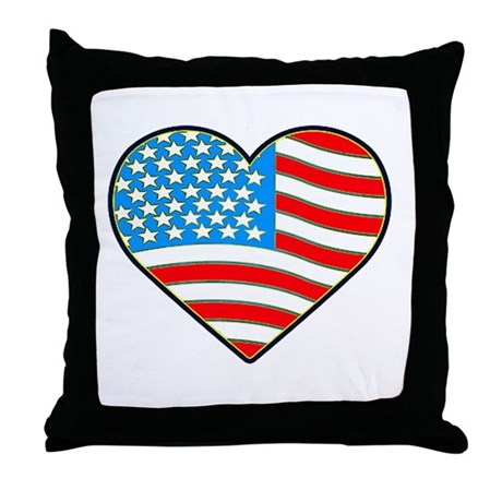 I Love America Flag Throw Pillow