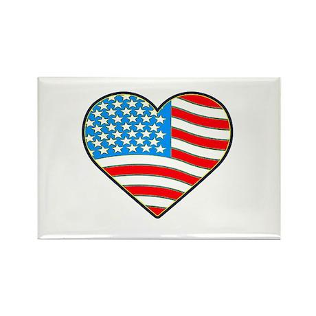 I Love America Flag Rectangle Magnet (100 pack)