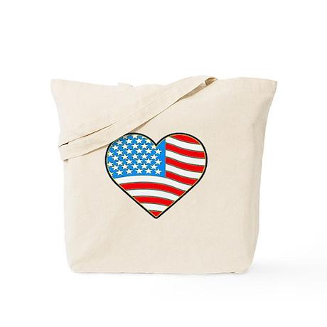 I Love America Flag Tote Bag
