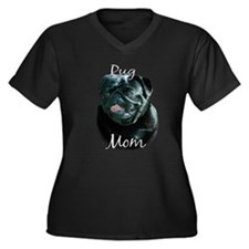 Pug Mom2 Women's Plus Size V-Neck Dark T-Shirt
