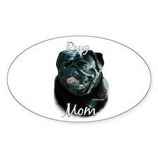 Pug Mom2 Oval Decal