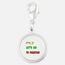 Let's go to Pakistan Silver Round Charm