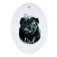 Pug Dad2 Oval Ornament