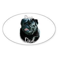 Pug Dad2 Oval Decal