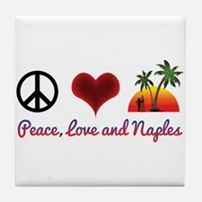 Peace, Love and Naples Tile Coaster