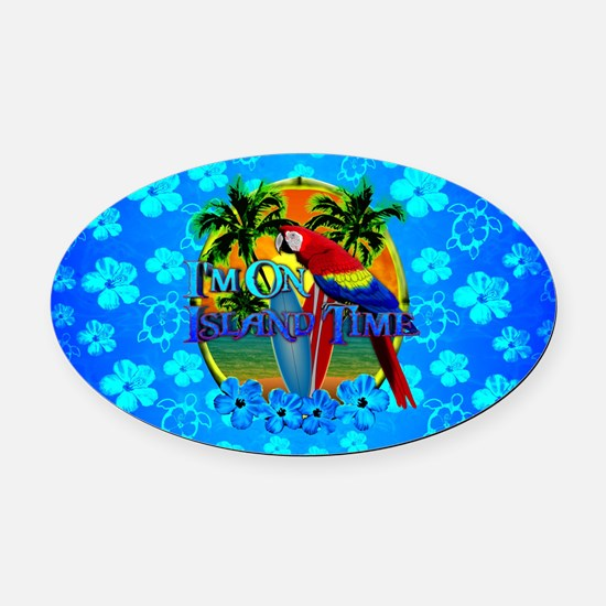 Island Time Surfing Blue Hibiscus Oval Car Magnet