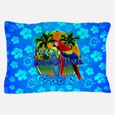 Island Time Surfing Blue Hibiscus Pillow Case