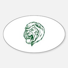 Lion Mascot (Green) Oval Decal