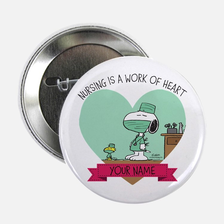 """Snoopy Nursing - Personalized 2.25"""" Button"""