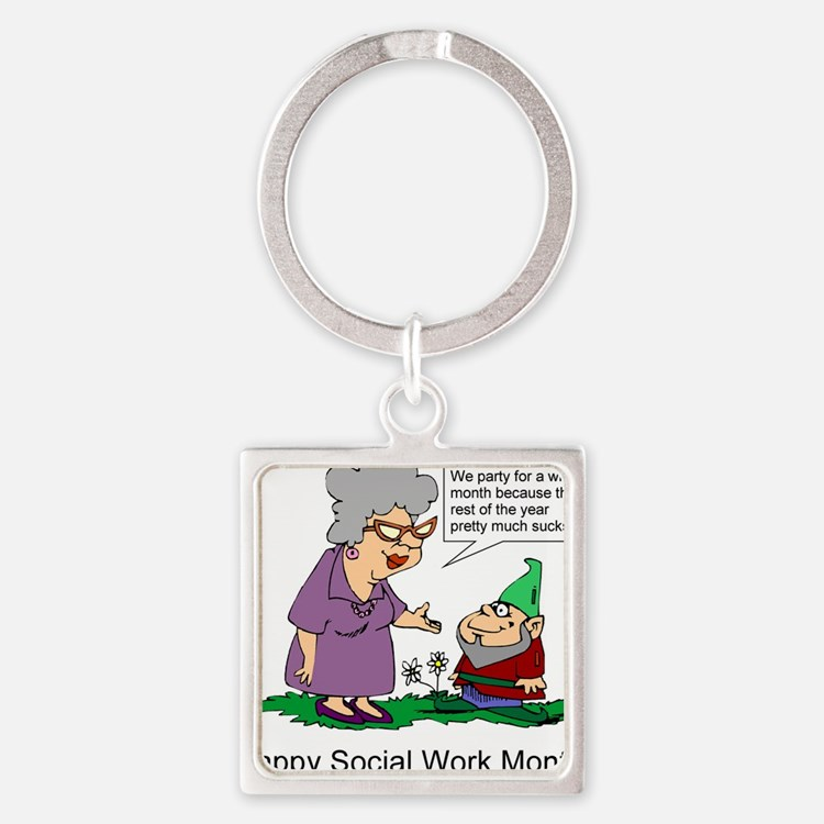 Cute Social work month Square Keychain