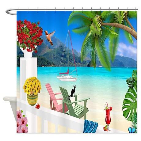 cool beach theme shower curtain