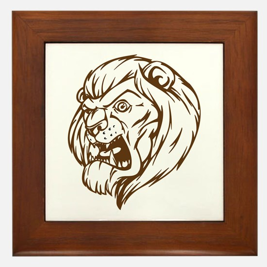 Lion Mascot (Brown) Framed Tile