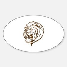 Lion Mascot (Brown) Oval Decal