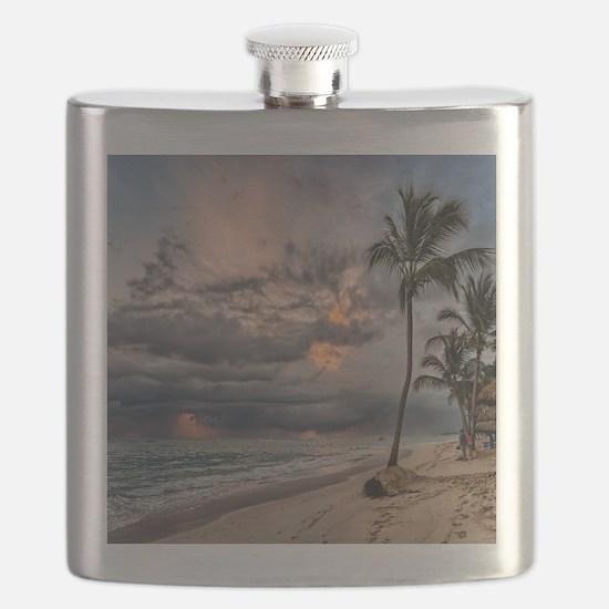 Palms At Sunset Flask