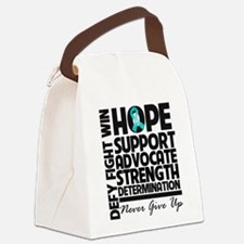Teal Ribbon Hope Canvas Lunch Bag