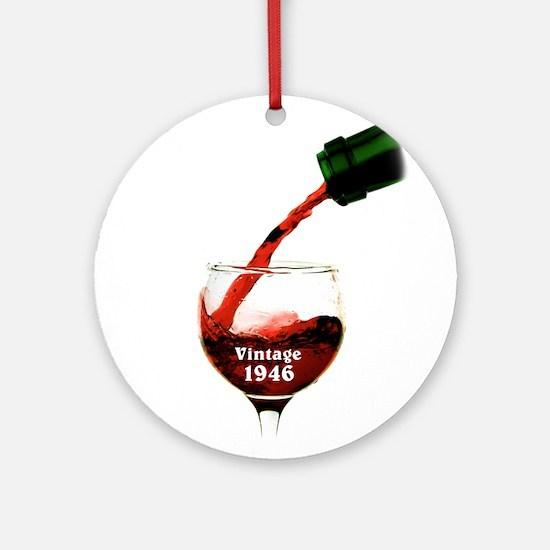 Vintage 1946 Wine 70th Round Ornament