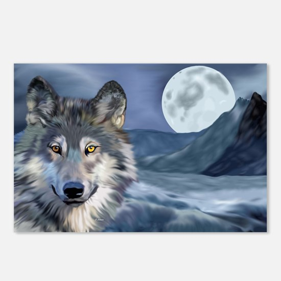 Icy Moon Wolf Art Portrait Postcards (Package of 8