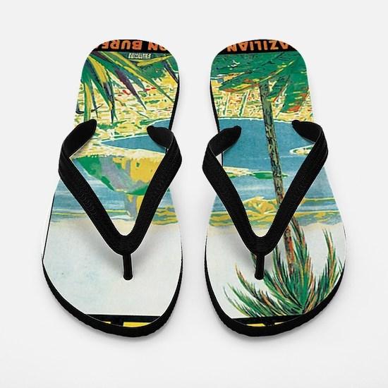 Brazil Retro Poster Flip Flops